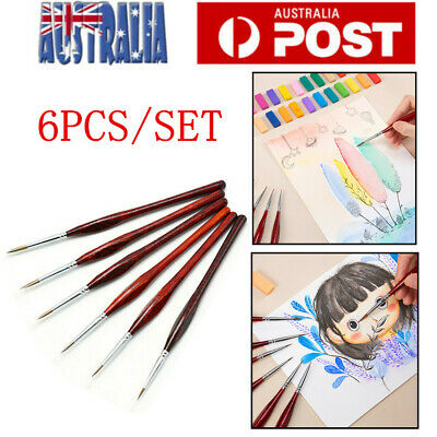6pcs Artist Paint Brush Sable Hair Detail Miniature Brush Painting Brushes Set
