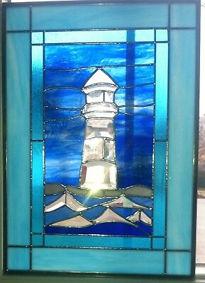 """Beautiful Lighthouse bevel cluster and waves stained glass window panel 21""""x 15"""""""