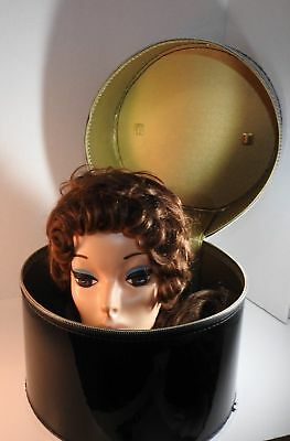 Vintage Black Patent Wig Case w/ wigs 1 from France & Beautiful Fashion Head