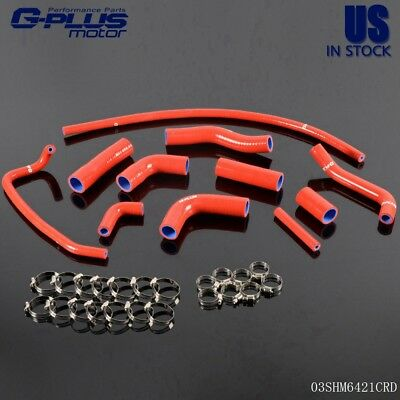 FIT FOR YAMAHA YZF R6 2006-2007 Red Silicone Radiator Coolant Hose Kit