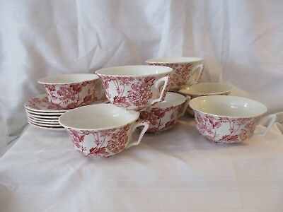 Alfred Meakin England red pink Florette lot 8 cups 7 saucers