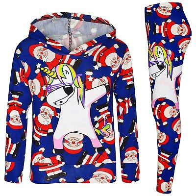 Kids Girls Xmas Santa Blue Unicorn Dab Hooded Top Legging Set Tracksuit 7-13 Yrs