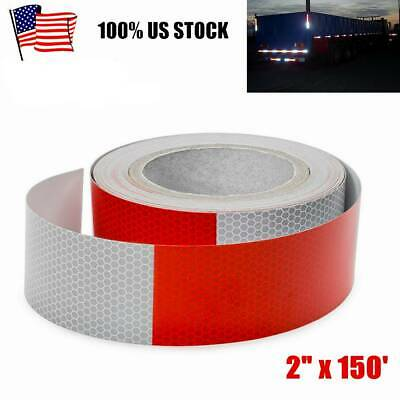"""1 Roll 2""""x150 DOT-C2 Self Adhesive Reflective Red&White Conspicuity Tape Trailer"""