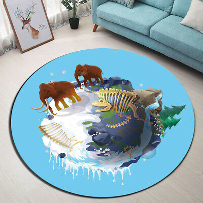 Blue Round Area Rugs Ancient Elephant Non-slip Floor Mats Bedroom Carpets Decor