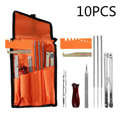 10 Pcs Chainsaw Chain Sharpening Kit Tool Set Guide Bar File Sharpener Replace