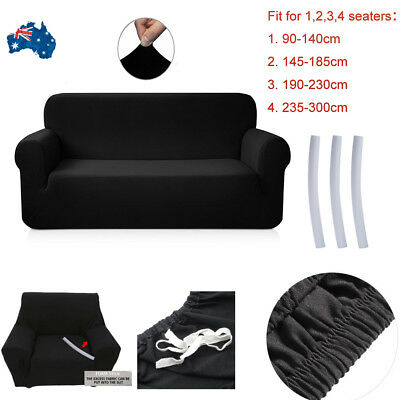 1/2/3/4 Seater Home Soft Elastic Sofa Cover Easy Stretch Slipcover Couch Black