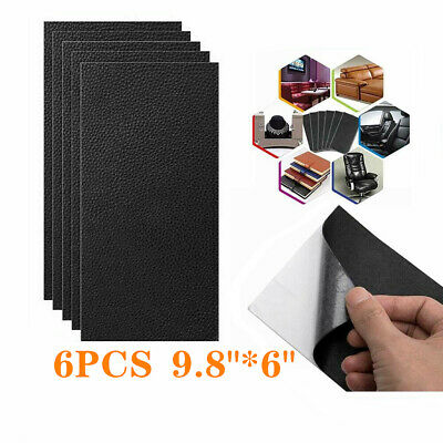 6pcs Self-adhesive Leather Repair Patch Black Filler for Couch Sofa Car Seat