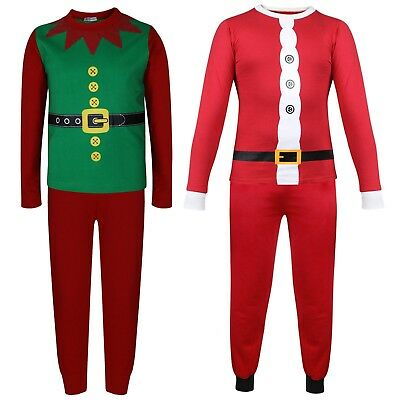 Kids Girls Boys Christmas Santa Claus & Elf Costume Xmas Pyjamas Nightwear 2-13Y