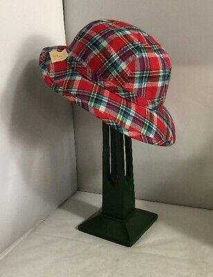 Vintage Unused French Tartan Childs Girls Boys Summer Hat Bonnet 1960s 1970s