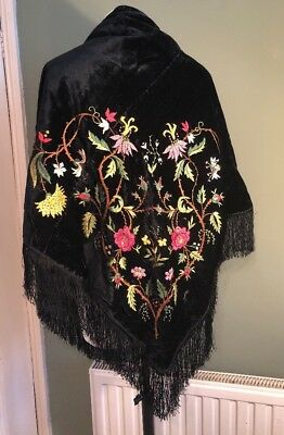 Beautiful Antique Victorian Hand Embroidered Black Velvet Shawl VGC