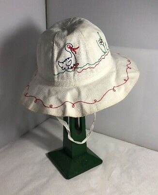 Vintage Unused French Childs Girls Summer Hat Bonnet 1960s 1970s Retro Duck