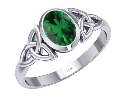 New Women's 0.925 Sterling Silver Irish Celtic Triquetra Simulated Emerald Ring
