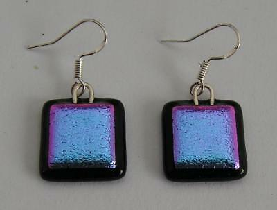 HANDMADE DICHROIC + ART GLASS EARRINGS with 925 STERLING SILVER FINDINGS: WOW !