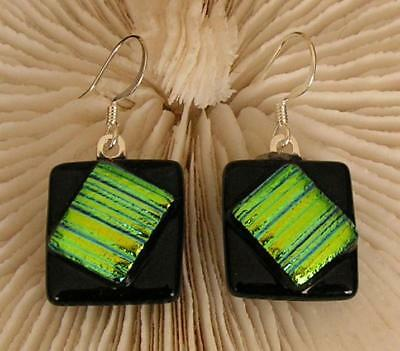 "HANDMADE DICHROIC + ART GLASS EARRINGS: "" GREENY-YELLOW on BLACK !"""