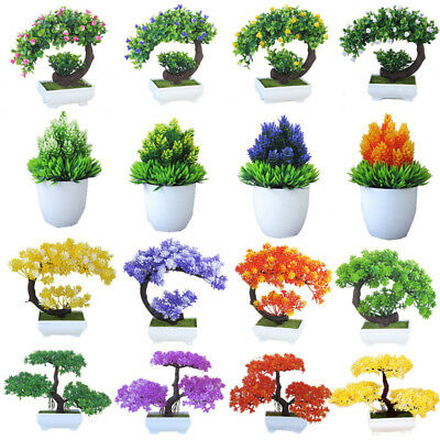 Faux Pine Bonsai Tree Artificial Plant Pot Office Desk Home Decor Ornament