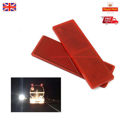 2x 150x50mm Red Self-Adhesive Oblong Rectangular Trailer Caravan Rear Reflectors