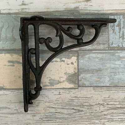 S/2 Antique Victorian Cast Iron Wall Mounted Shelf Shelving Brackets Pair Large