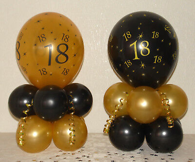 90th BIRTHDAY Black Gold BALLOON TABLE DECORATION DISPLAY KIT