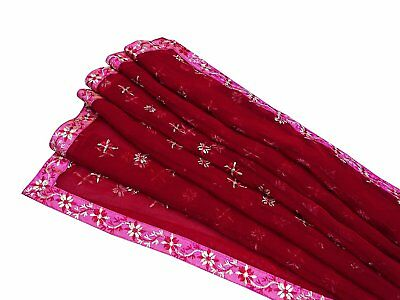 Indian Dupatta Vintage Hand Embroidered Maroon Chunni Georgette Stole EMBDP3896