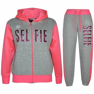 Kids Girls Tracksuit Designer #Selfie Grey & Neon Pink Top & Bottom Jogging Suit