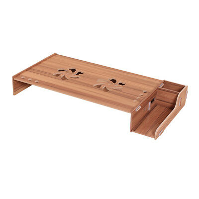 Elevated Wood Computer Monitor Stand Riser Laptop Shelf Desk Organizer with Y9S6