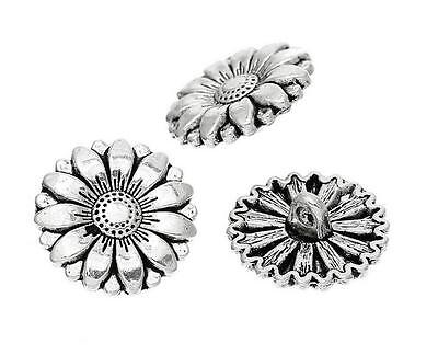 5Pcs/lot Antique Silver Shank Metal Carved Sunflower Design Sewing Buttons 18mm