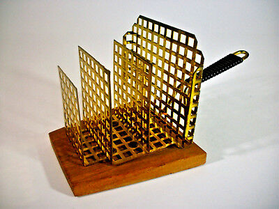 1950s DESIGN TOASTRACK/  BRIEFSTÄNDER MESSING / TEAK WOOD vintage RETRO m. LABEL