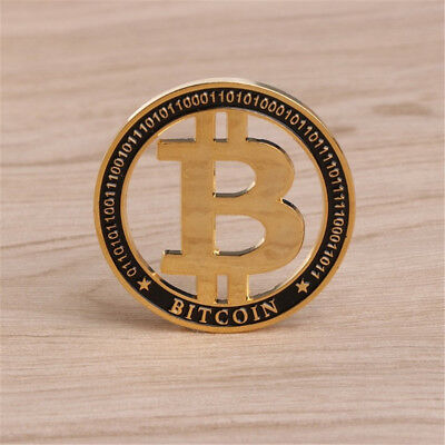 Gold Plated Hollow Bitcoin Commemorative Round Collectors Coin Bit Coin Gift