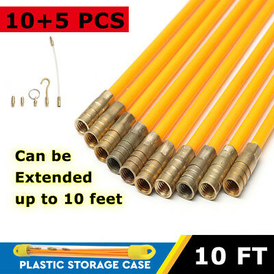 15Pcs 10FT Fiberglas Cable Access Kit Electricians Pulling Puller Rods Draw Wire