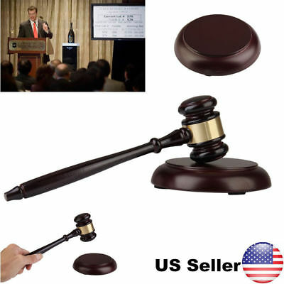 Handcrafted Wood Gavel & Sound Block Lawyer Judge Meeting Auction Sale Wooden US
