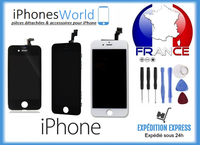 Ecran Iphone Vitre Tactile+Lcd 4/4S/5/5C/5S/6/6Plus/6S/6Sp/7/7P/8/8P Noir Blanc