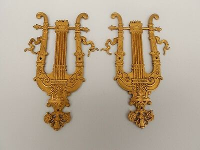 ANTIQUE FRENCH GILT BRONZE ORMULU LYRE MOUNT PEDIMENT ORNEMENT FURNITURE 19th