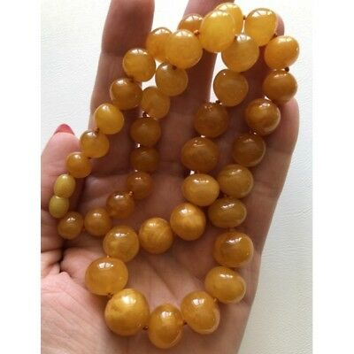 Antique color baroque beads amber necklace