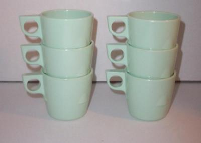 Dallas Ware Mint Green Stackable Retro  Melamine Vintage Coffee Cups Lot of 6