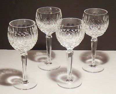 4 Vintage Waterford Crystal Colleen Wine Hock Glasses ~ 7 3/8  Made In Ireland
