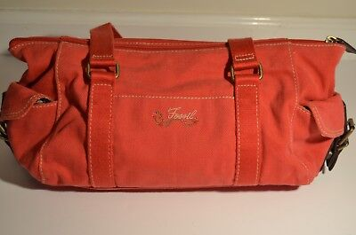 Authentic Fossil Canvas & Leather Duffle Style Shoulder Bag Red Floral Purse EUC