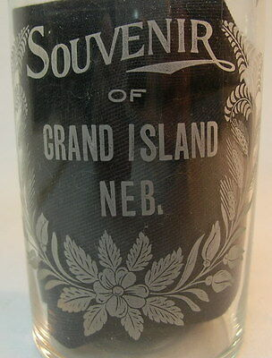 EARLY 1900S, Victorian Era - ACID ETCHED, GLASS - SOUVENIR OF GRAND ISLAND NEB.