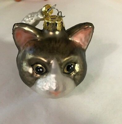Kitty Cat & Fish Glass Poland Christmas Ornament