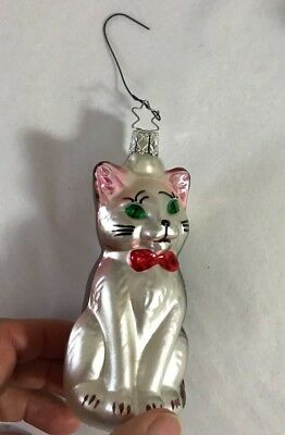 Kitty Cat with Bow Glass  Christmas Ornament