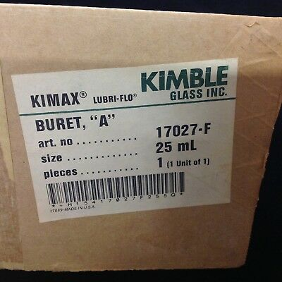 Kimble Kimax Lubri-Flo 17027-F 25mL Glass Buret