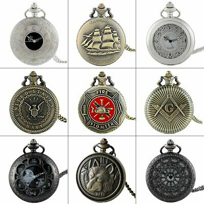 Steampunk Vintage Pocket Watch Quartz Antique Necklace Pendant Chain Gift Retro