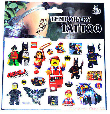 LEGO TATTOO SHEET BATMAN Childrens Birthday Party Gift Bag Filler Movie Loot
