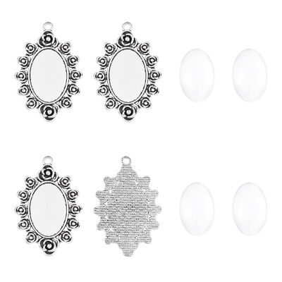 5 Set Tibetan Silver Alloy Oval Flower Pendant Setting Bases with Glass Cabochon