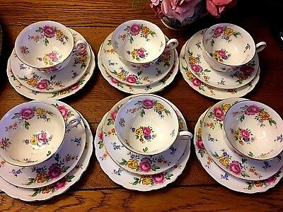 *~PRETTY VINTAGE FLORAL~* 6 New Chelsea China Cabinet Trios Cups Saucers Plates