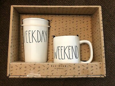 RAE DUNN ARTISAN COLLECTION BY MAGENTA COFFEE MUGS Boxed Set NEW VACAY WEEKEND