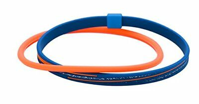 Phiten RAKUWA Anklet S Slash Line Lame Type Navy/Orange 23cm(9.05in) from Japan*