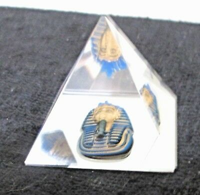 Vintage King Tut Crystal Pyramid Paperweight