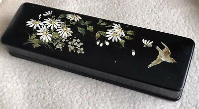Very Old Rare Vintage Laquered Wooden Box Flowers Birds Black 30 X 8 X 6 Cm