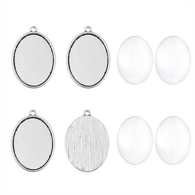 5 Sets Tibetan Silver Alloy Oval Blank Pendant Cabochon Setting Tray 40x30mm DIY
