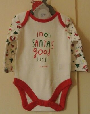 New Mothercare boys/girls 100% cotton Xmas bodysuit white/Red/green 0-3 months